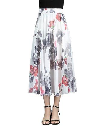 ZiXing Mujer Maxi Larga Falda Casual Bohemia Playa Gasa Skirt con ...