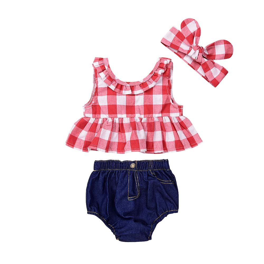Baorong Baby Girls Plaid Ruffle Bowknot Tank Top Denim Headband Shorts Outfit 3 Piece Sets