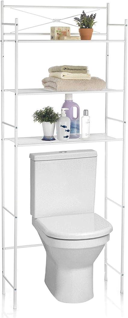 IDIMEX Estantería de baño (Marsa – Mueble de almacenaje Dessus Inodoro WC Lavadoras con 3 estantes de Metal Blanco Lacado