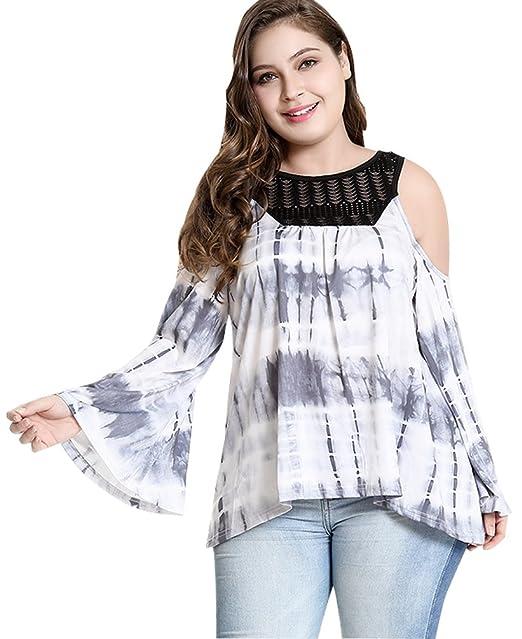 Blusas Mujer Tallas Grandes Camisetas Verano Tops Tunicas Fiesta Camisas Moda Cuello Redondo Camiseras Vestir Suelto T Shirt con Manga De Cuerno XL-5XL: ...