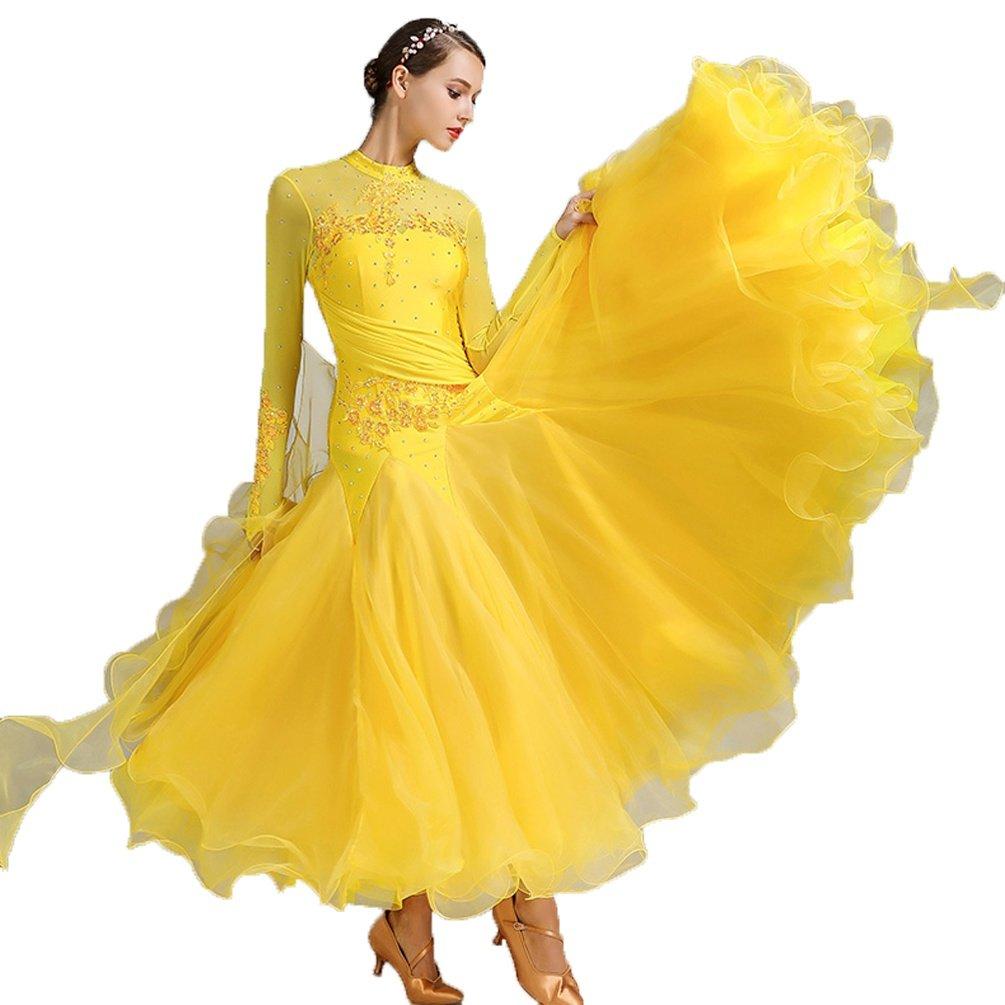 jaune M Valse Compétition Danse Robes pour Femme Manches Longues Col Haut Grande Balançoire Moderne Tenue de Danse de Salon 7002