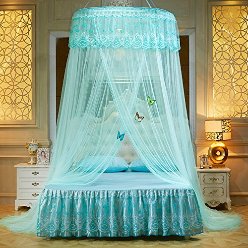 WLHOPE Mosquito Net Canopy Ceiling Stylish Lace Princess Butterfly Dome Mosquito Net Diameter 1.2M Bed Cotton Cloth Tent Baby Kids Indoor Reading Play Games House Anti-Mosquito Insect Net (Aqua (Canopy Cotton Crib)
