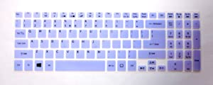 """BingoBuy Semi-Purple Backlit Ultra Thin Silicone Keyboard Protector Skin Cover for Acer Aspire V5-552 V5-552G V5-552P V5-552PG V5-572P V5-573P V5-573PG V7-582P V7-582PG series(if your """"enter"""" key looks like """"7"""", our skin can't fit) with BingoBuy Card Case for Credit, Bank, ID Card"""
