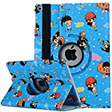 IPad air2 Flip Case,TechCode Cute Lovely Cartoon Pattern 360 Degree Rotating PU Leather Flip Folio Stand Case Cover for iPad air 2th Generation 9.7 inch,Blue