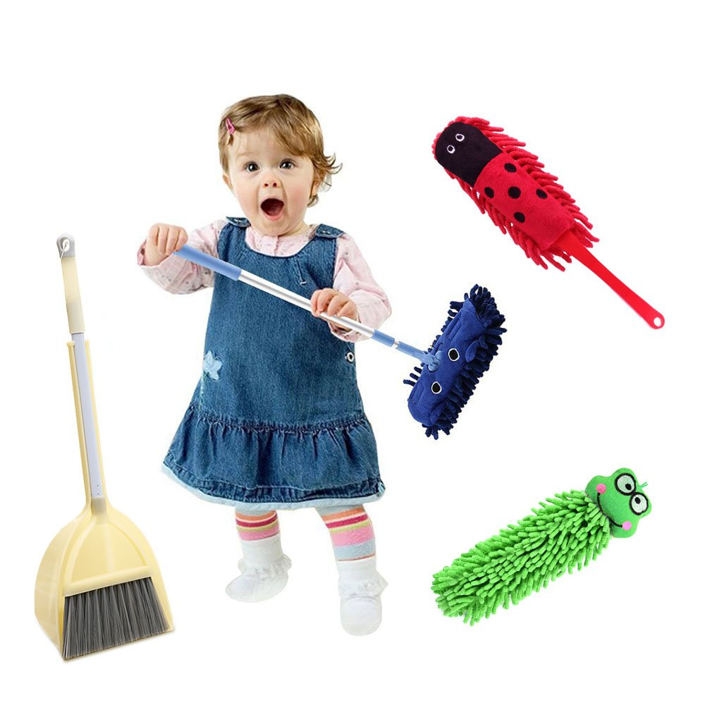 C360 Mommy's Helper! Kid's Cartoon Broom and Mop Cleaning Tools (5 PCS, Blue)