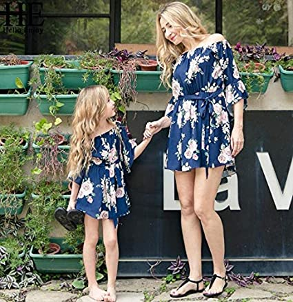 a1040068 Image Unavailable. Image not available for. Colour: HE Hello Enjoy Mother  Daughter Dresses Spring Autumn 2019 Matching Outfits Moms and Girls Clothes  Long