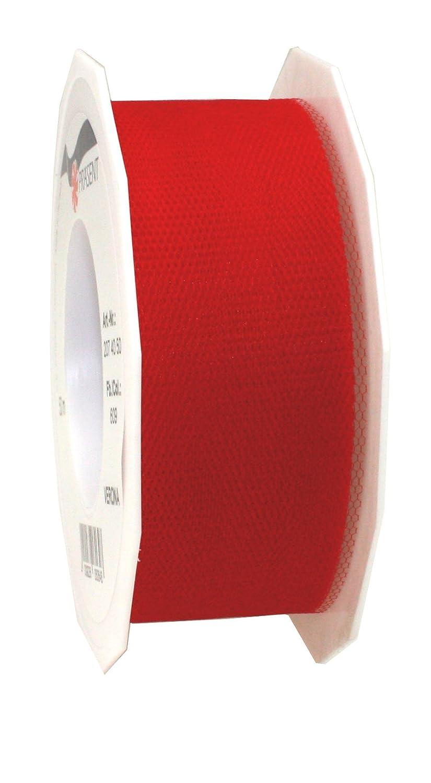 Pr/äsent C.E Tul, 40 mm x 50 m Rollo de Lazo Pattberg Verona Color Rojo