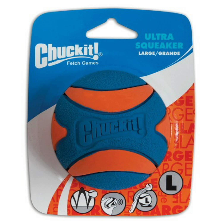 Chuckit! Ultra Squeaker Ball Orange & Blue, Large 12ct (12 x 1ct) by Chuck It!