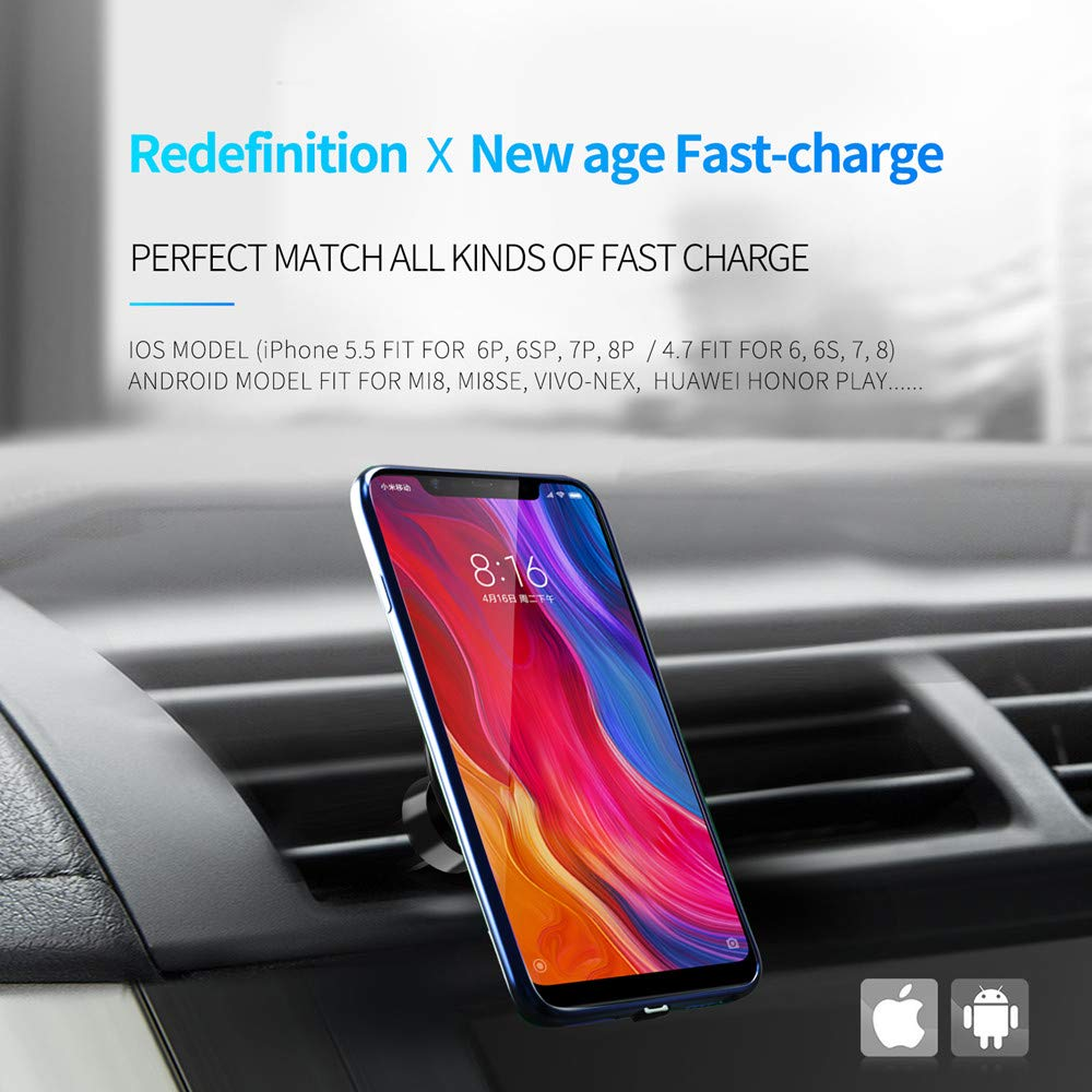 4.7 inch, Blue GazeKu 3 in 1 Function Magnetic Wireless Fast Car Charger