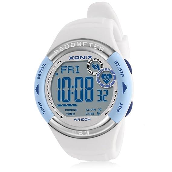 Hombres y Mujeres Ver Reloj Digital Paso calórico Prueba Pulso Movimiento Latido cardíaco detección de ritmos Impermeable-A: Amazon.es: Relojes