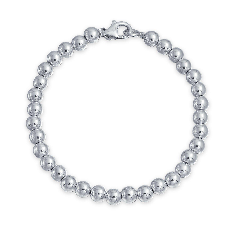 925 Sterling Silver Beaded Ball Wedding Bridal Bracelet 6mm