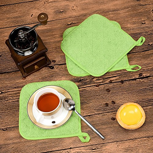 Lifaith 100% Cotton Kitchen Everyday Basic Terry Pot holder Heat Resistant Coaster Potholder for Cooking and Baking Set of 5 Apple Green by Lifaith (Image #5)