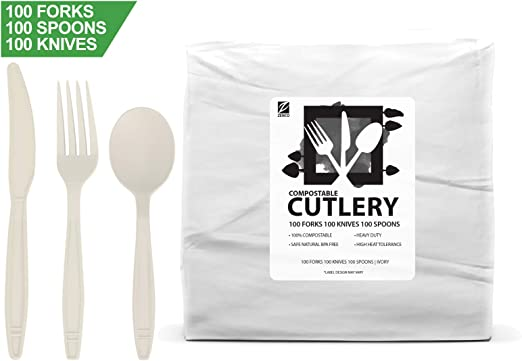100 Spoons Large 6.5 Ivory Picnics or Birthdays Catering Heavy Duty Heat Resistant Eco Friendly Utensils for Office 100 Count, Spoons ZenCo Biodegradable Compostable Disposable Cutlery