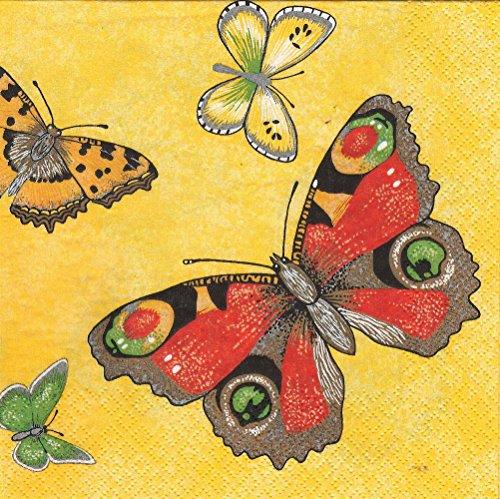 20 Servietten Papillon yellow - Schmetterlinge auf gelb / Tiere / Frühling 33x33cm