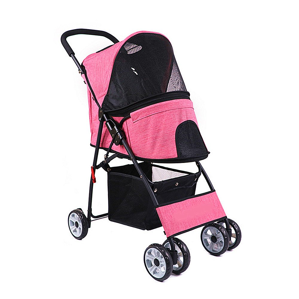 Pet Stroller,Dog Cat Small Animals Carrier Cage 4 Wheels Folding Stroller Travel