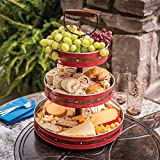 Enameled Galvanized 3 Tier Collapsible Server with Wood Handle & Food Safe Steel (Red with Copper Band)