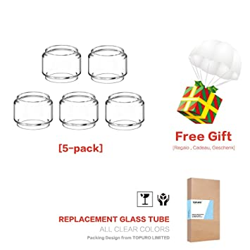 (3-Pack) Topuro TFV12 PRINCE Glass tubes Replacement Fat Glass Transparent: Amazon.es: Salud y cuidado personal