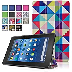 TNP New Fire 7 Case (Square Multi Color) - Ultra Slim Lightweight Folding Folio Cover Stand with Hard Rubberized Back for Amazon New Fire 7 Inch (5th Generation) 2015 Release Tablet