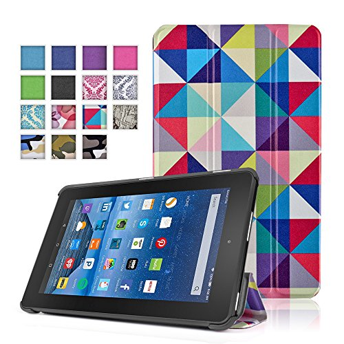 TNP New Fire 7 Case (Square Multi Color) - Ultra Slim Lightweight Folding Folio Cover Stand with Hard Rubberized Back for Amazon New Fire 7 Inch (5th Generation) 2015 Release - Mustache Keyboard
