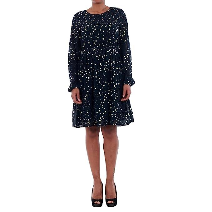 Vestido Vero Moda Mujer S Azul marino 10198236 VMDIVIA DOT LS SHORT DRESS FD NIGHT SKY