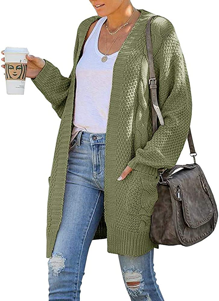 Womens Boho Open Front Chunky Cable Knit Cardigan Plus Size Oversize Long Sleeve Boyfriend Sweater Outwear with Pockets