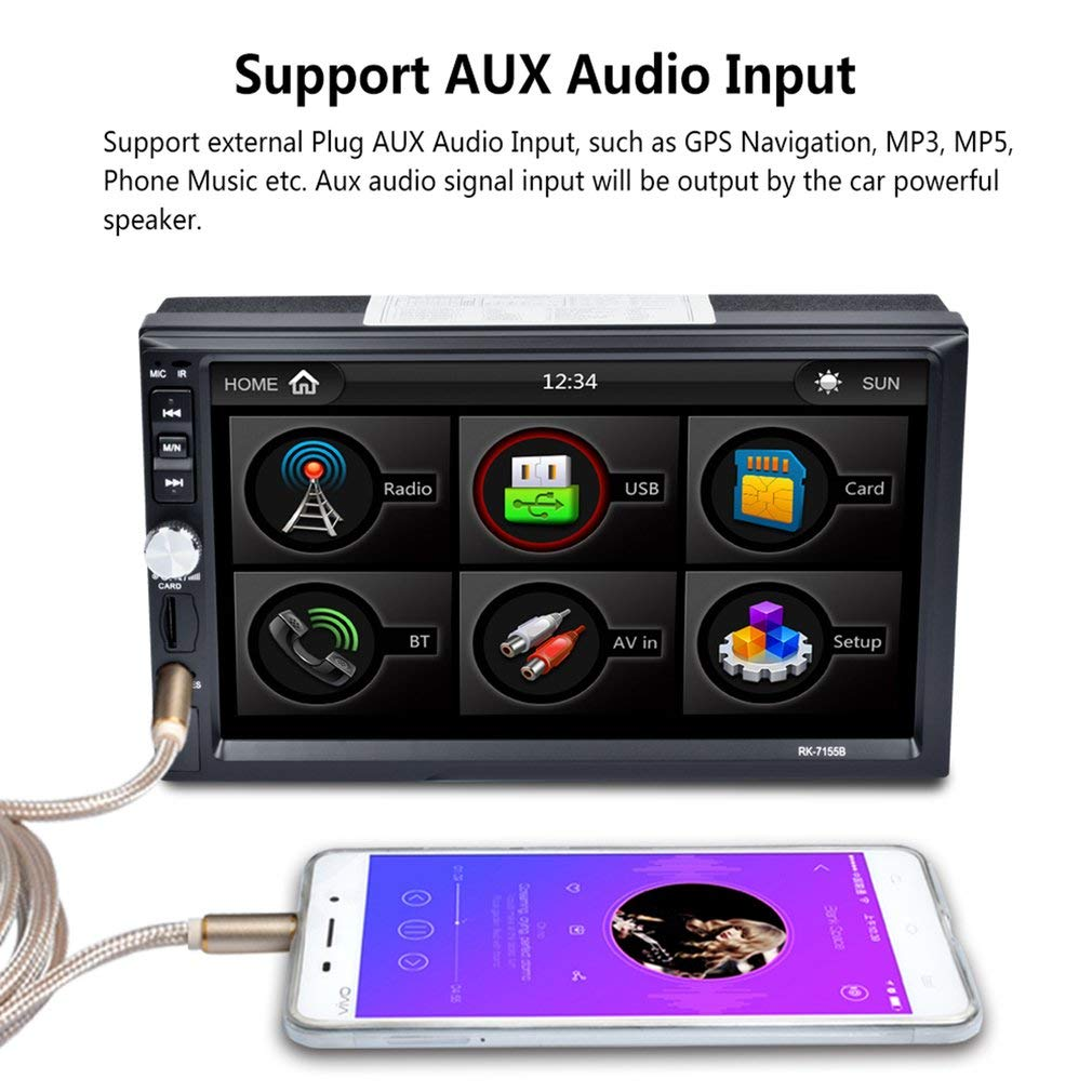 7 Pulgadas Coche MP5 HD Pantalla t/áctil Bluetooth FM RDS Radio Reproductor Multimedia de Coche