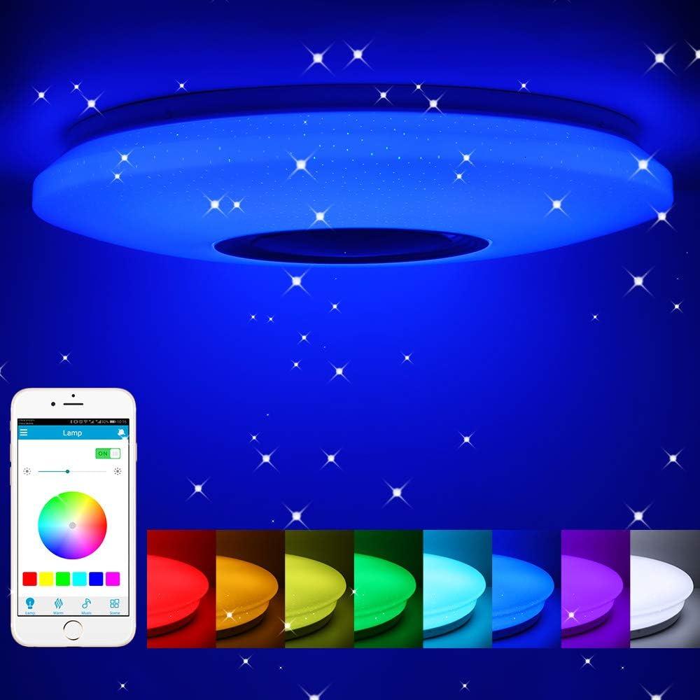 Lámpara LED de techo con altavoz Bluetooth 36W, Regulable Led Luz De Techo Música Plafón Lampara, APP Mando a Distanci RGB Cambio de Color Para Dormitorio Sala Cocina Comedor