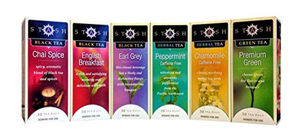 Stash Tea - 6 Flavor Assorted Tea Collection - 30 Tea Bags Each