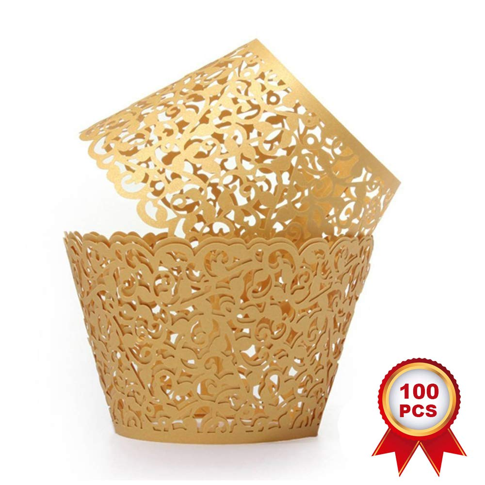 SUYEPER 100pcs Cupcake Wrappers Artistic Bake Cake Paper Cups Little Vine Lace Laser Cut Liner Baking Cup Muffin Case Trays for Wedding Party Birthday Decoration (Gold) by SUYEPER