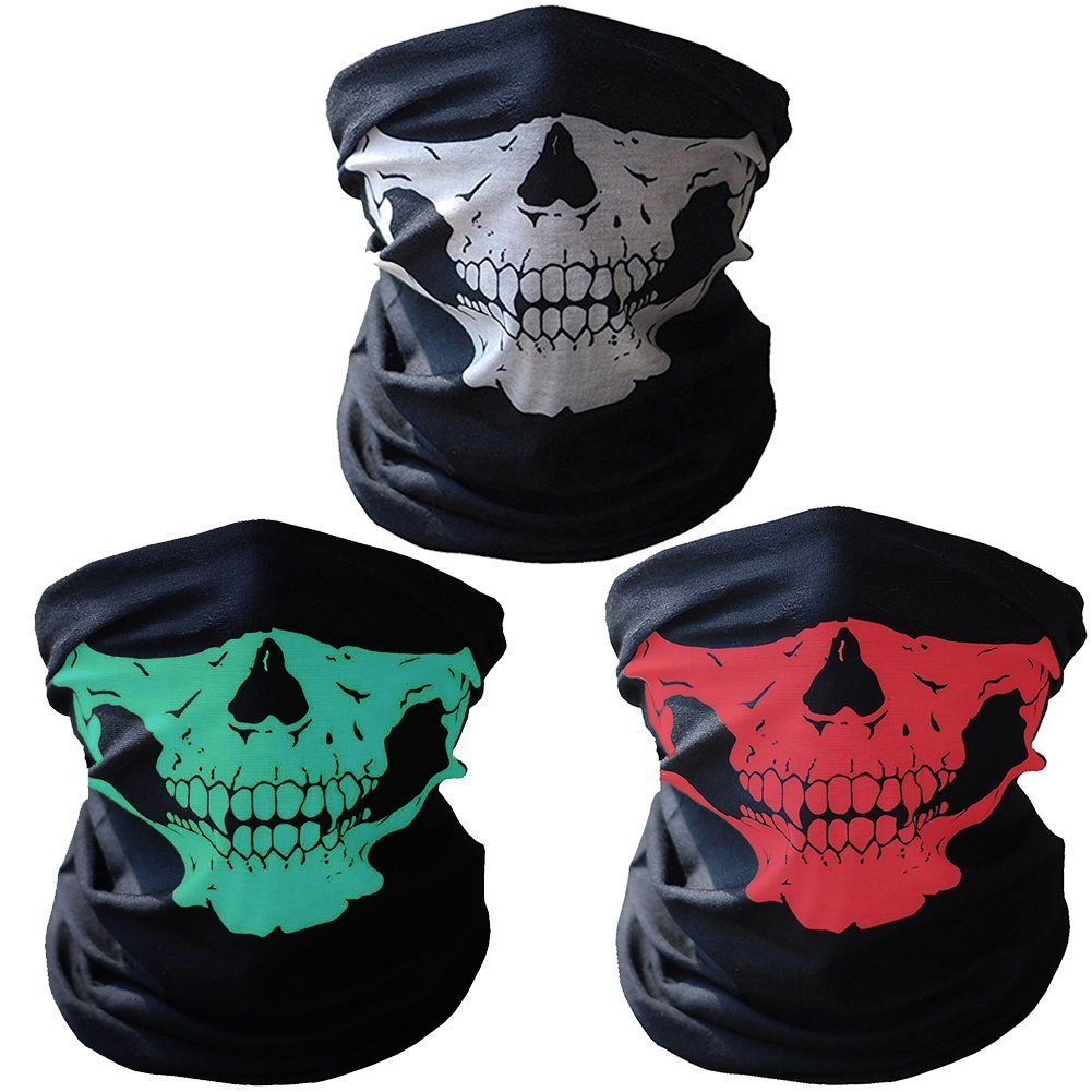 Geila 3pcs Windproof Stretchable Skull Face Mask Breathable Seamless Neck Warmer Tubular Half Face Cover for Motorcycling Riding Climbing Snowboard Winter Sports Outdoor Activities (E) Geila Co. Ltd Mask-A
