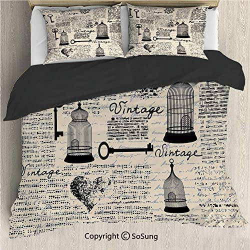 Old Newspaper Decor Black Bedding Set,Grunge Pattern with Bird Cages Keys Heart Shapes and Flower Decorative King Size Decorative 3 Piece Duvet Cover Set with 2 Pillow Shams,Black Cream Baby Blue
