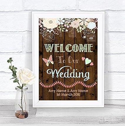 Cartel personalizable de bienvenida a nuestra boda, con efecto de madera rústica, con texto en inglés Medium A4