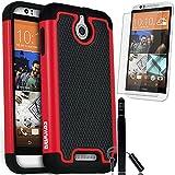 COVRWARE HTC Desire 510 - 3 in 1 Bundle - Armor Defender Series Protective Case [HD Film & Aluminum Stylus Pen] - Red