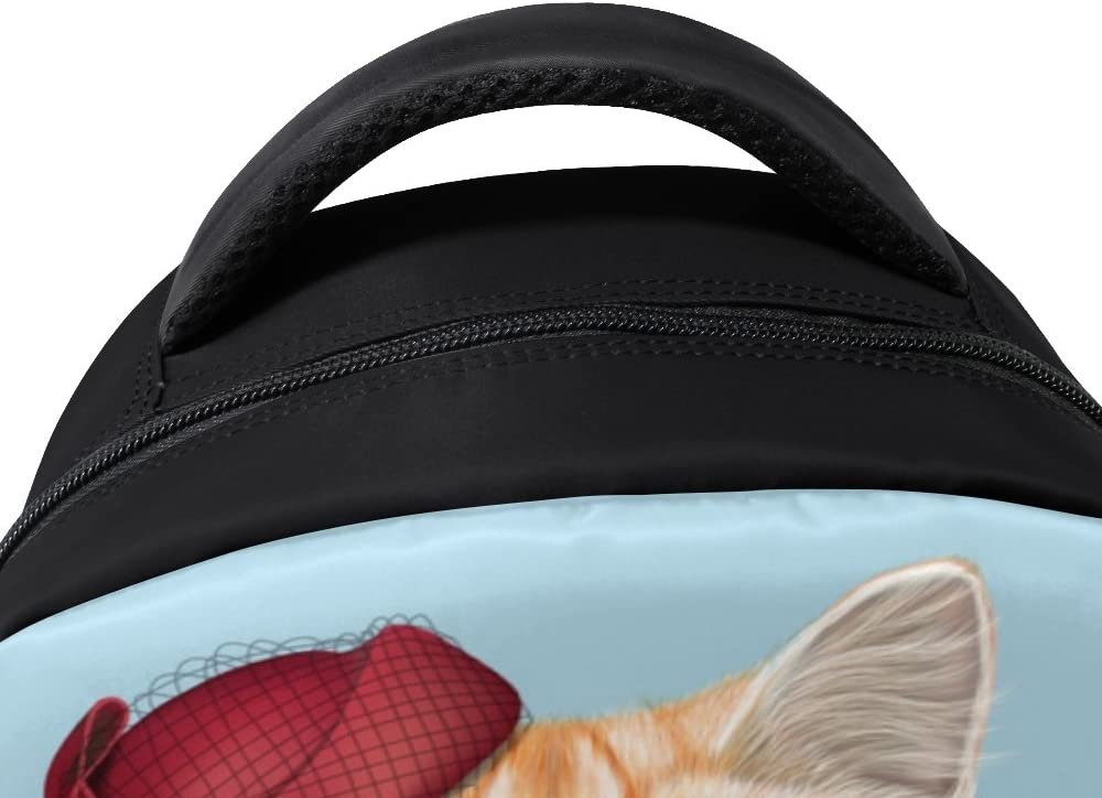 Funny Cat Printed Laptop Backpack High School Bookbag Casual Travel Daypack