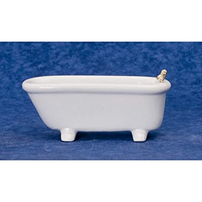 Melody Jane Dollhouse Plain White Porcelain Bath Tub Miniature Bathroom Furniture: Toys & Games