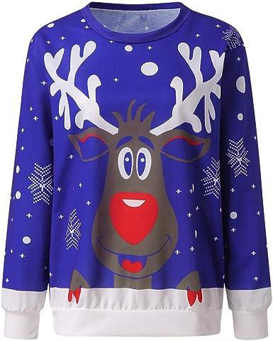 Mujer Sudaderas Navidad Jersey Casual Camisa Navideña Estampada de Reno Blusa Cómodo Pullover Caliente Suéter Ropa de Invierno Tops Fannyfuny: Amazon.es: Ropa y accesorios