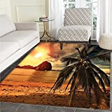 Tropical Mat Kid Carpet Exotic Beach with Coconut Palm Tree and Horizon Sunset Calm Panorama Home Decor Foor Carpe 3'x4' Orange and Olive Green