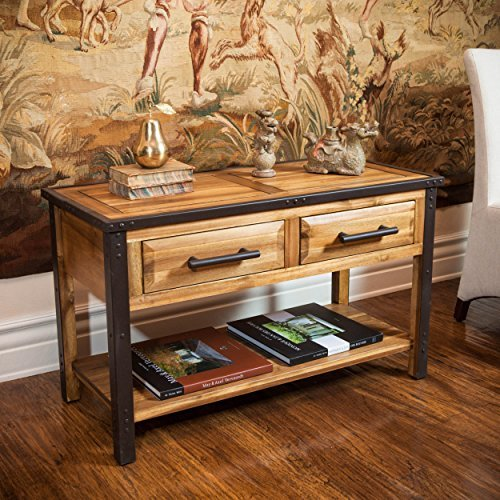 iron and wood console table - 2