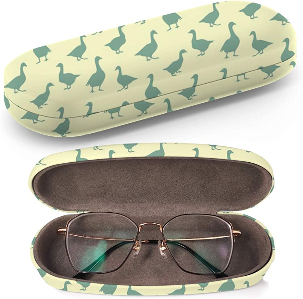 Geese Silhouettes Hard Shell Glasses Protective Case Box Fits most Eyeglasses and Sunglasses Cleaning Cloth