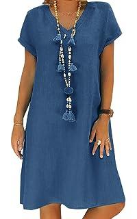 5e1dca801de26 Momoxi Mini Robe Femmes,Vêtements D'été Florale Vintage Col Rond ...