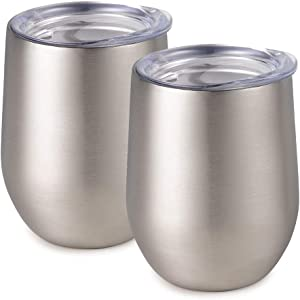 Maars Bev Stainless Steel Stemless Wine Glass Tumbler with Lid, Vacuum Insulated 12 oz Cup | Spill Proof, Travel Friendly, Classic Cocktail Drinkware - 2 Pack Silver