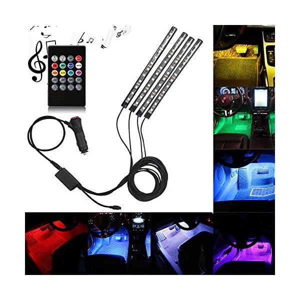 Car LED Strip Light, DLAND Multicolor Music Car Interior Lights With 4pcs 48 LEDs, Music LED Lighting Kit Underdash…