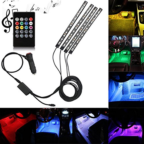 Car LED Strip Light, DLAND Multicolor Music Car Interior Lights with 4pcs 48 LEDS, Music LED Lighting Kit Underdash Lighting Kit with Sound Active Function and Wireless Remote Control.