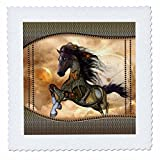 3dRose Heike Köhnen Design Steampunk - Steampunk, wonderful steampunk horse, golden design - 18x18 inch quilt square (qs_262393_7)