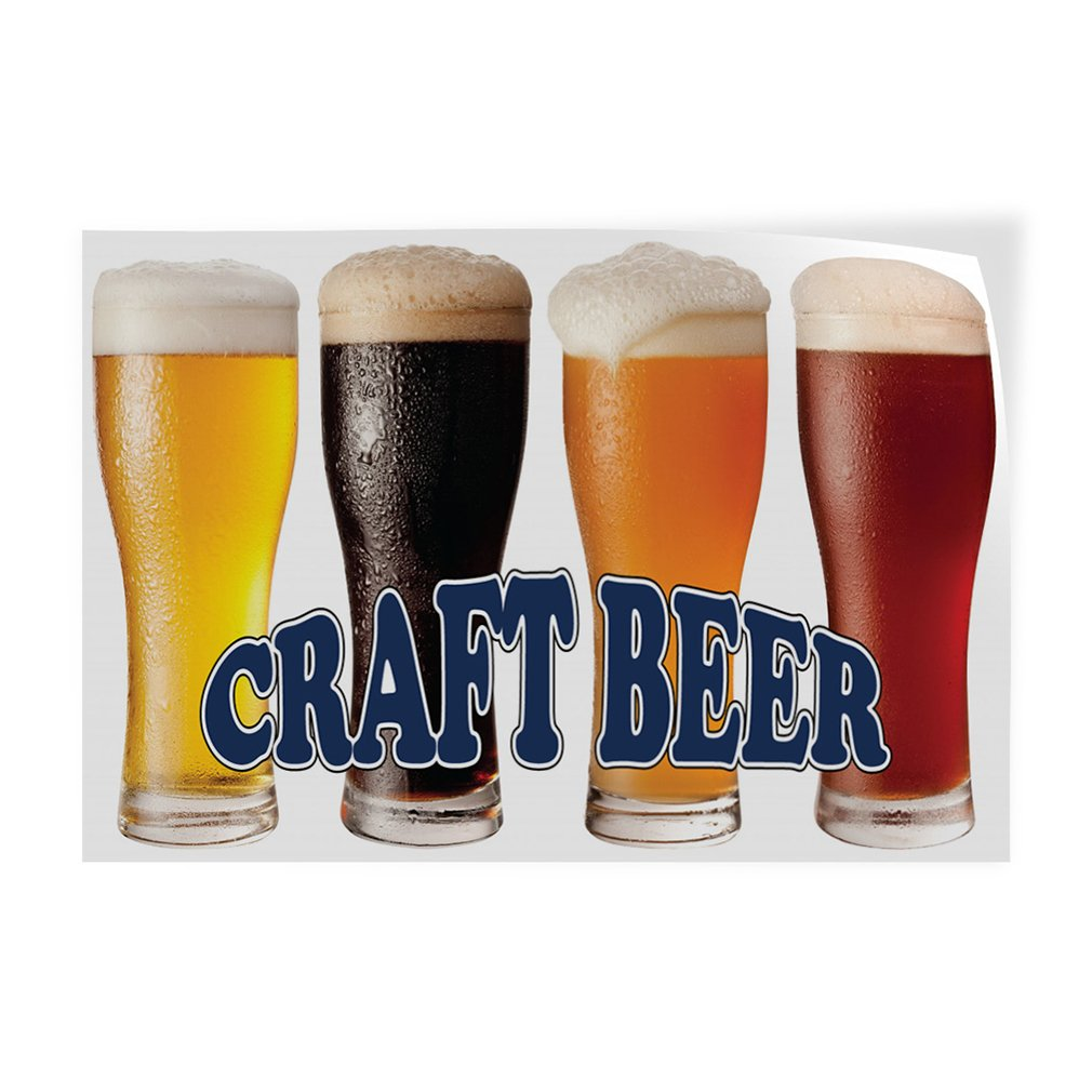 Decal Sticker Multiple Sizes Craft Beer Food & Beverage Beer Outdoor Store Sign White - 48inx32in, Set of 5