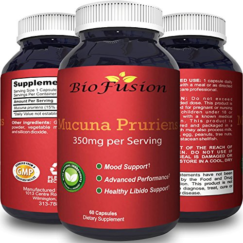 Pure Mucuna Pruriens Extract for Mood Enhancement L-Dopa Velvet Bean Libido Booster for Men & Women Natural Cognitive Memory Focus Supplement Increase Stamina Energy Sexual Health Pills by Biofusion by Biofusion