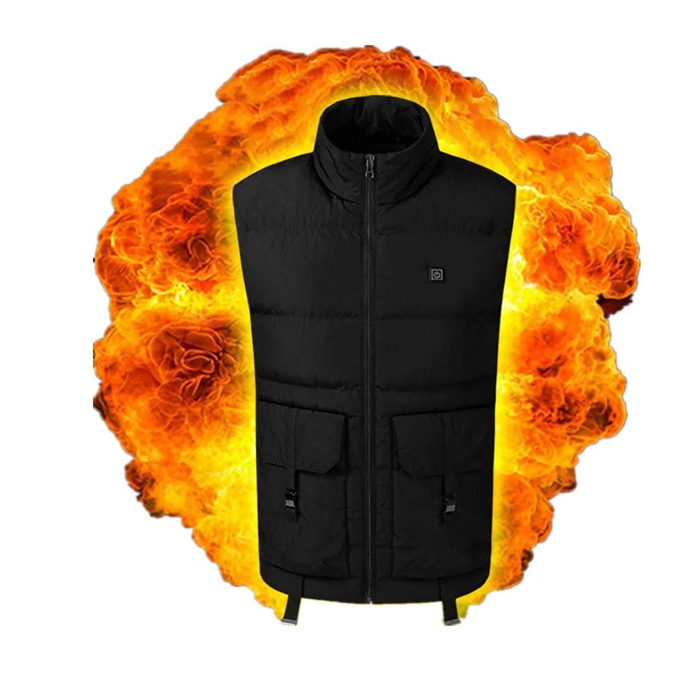 Heated Vest for Men,Rechargeable Adjustable Washable USB Charging Outdoor Camping Jacket Waistcoat (M, Black) by Moxiu Men's Coat
