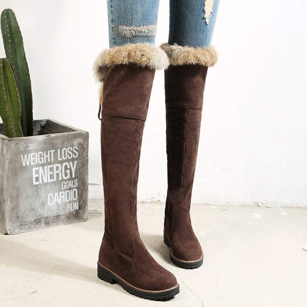 Frauen Lässige Winter Kniehohe Stiefel Schnüren Komfortable Lässige Frauen Schuhe Pelz Gefüttert Niedrigen Flachen Ferse Damen Plüsch Warme Schuhe be2f35