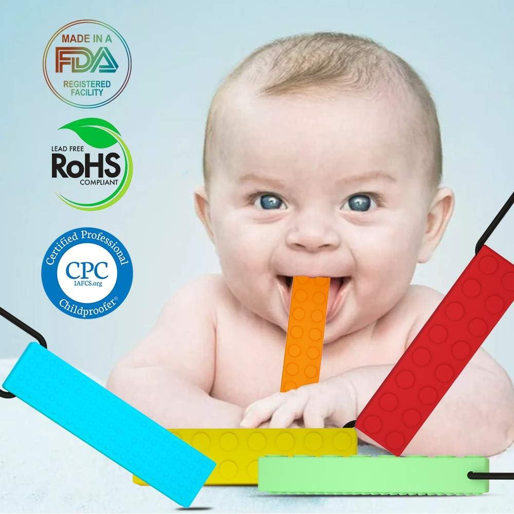 enfants autistes moteur oral anxi/ét/é YSBER 5-pack Collier /à m/âcher infantile autisme ADHD SPD Teether B/éb/é-Silicone 100/% naturel