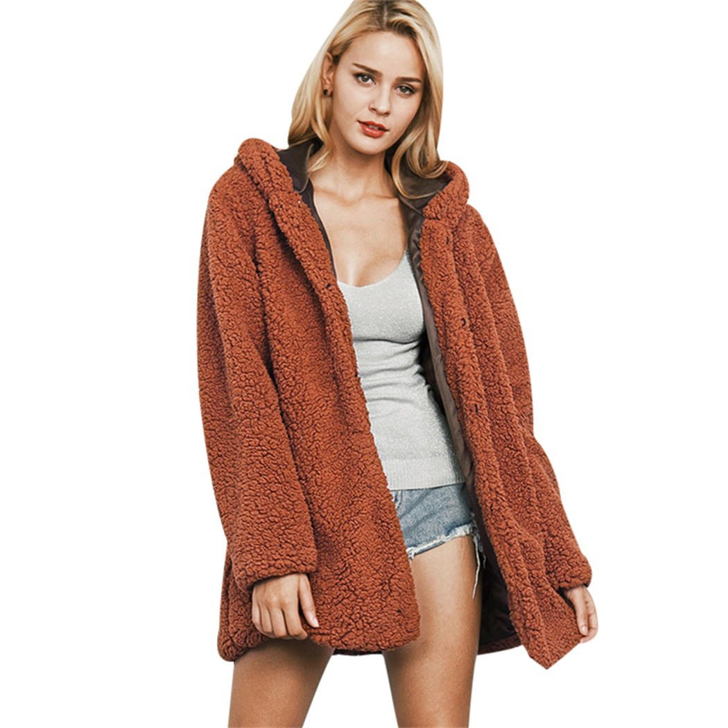 XWDA Faux Fur Hooded Coat Women Cardigan Jacket Loose Outwear with Pockets 1941